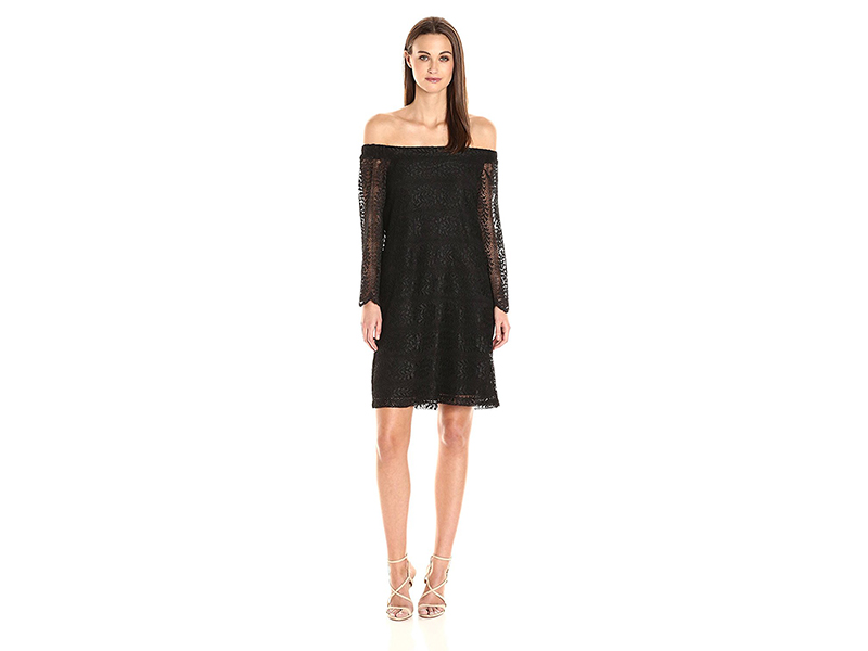Donna Morgan Black Lace Off the Shoulder Shift