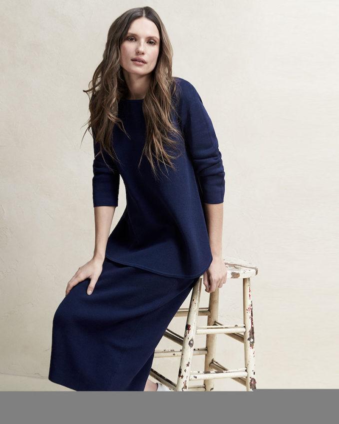 Eileen Fisher Long-Sleeve Silk Cotton Interlock Boxy Top