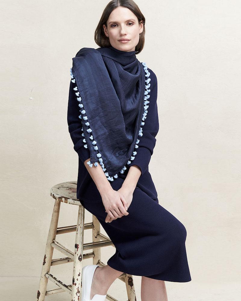 Eileen Fisher Pompom-Trim Cotton Silk Scarf