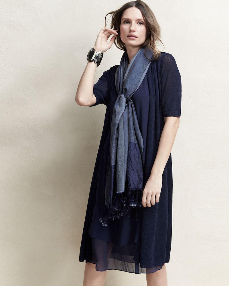 Eileen Fisher Sleeveless Layered-Hem Silk Georgette Dress