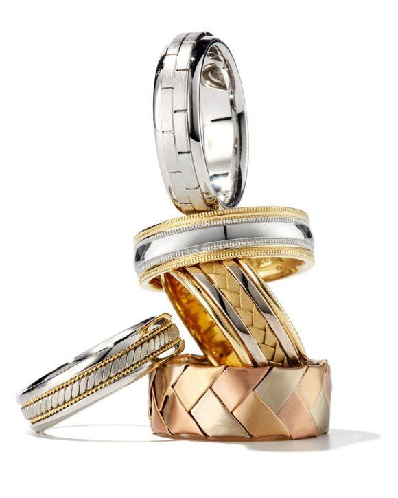 Eli Gents Woven 18K White & Yellow Gold Wedding Band Ring