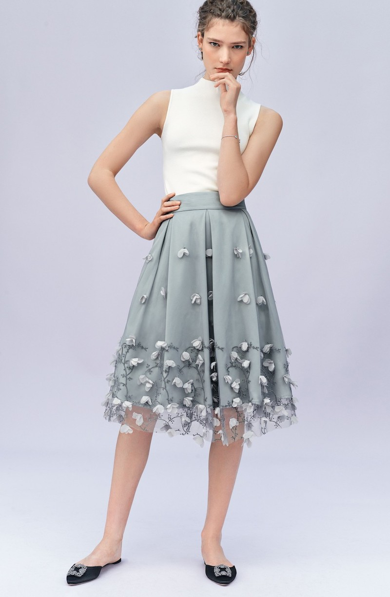 Eliza J Floral Appliqué Ball Skirt