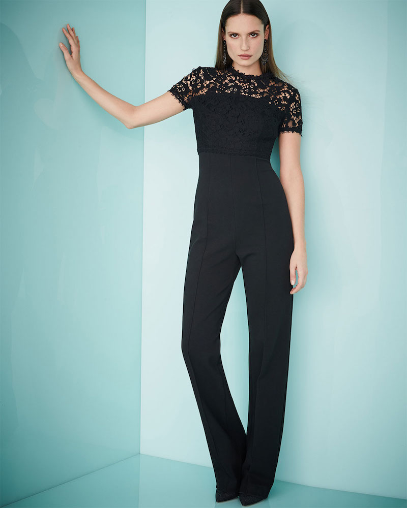 Escada Lace-Bodice Short-Sleeve Jumpsuit