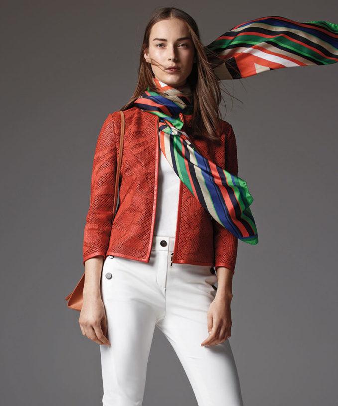 Escada Leaf-Cut Leather 3/4-Sleeve Jacket