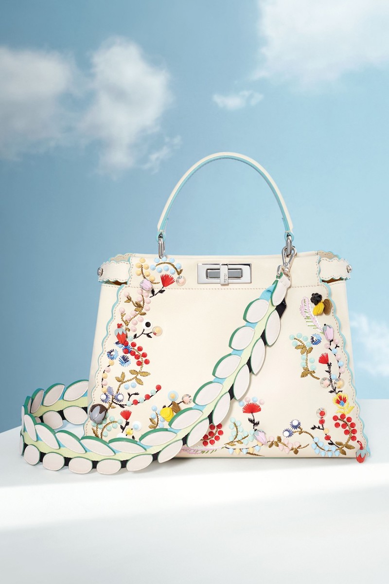 Fendi Medium Peekaboo Embroidered Leather Satchel