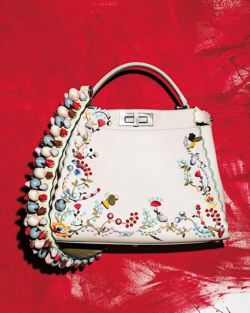 Fendi Peekaboo Large Floral-Embroidered Satchel Bag