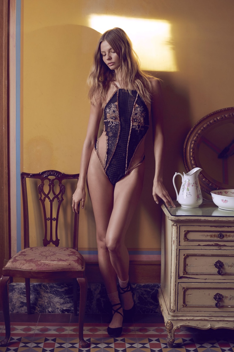 For Love & Lemons Heliotrope Appliqué Bodysuit