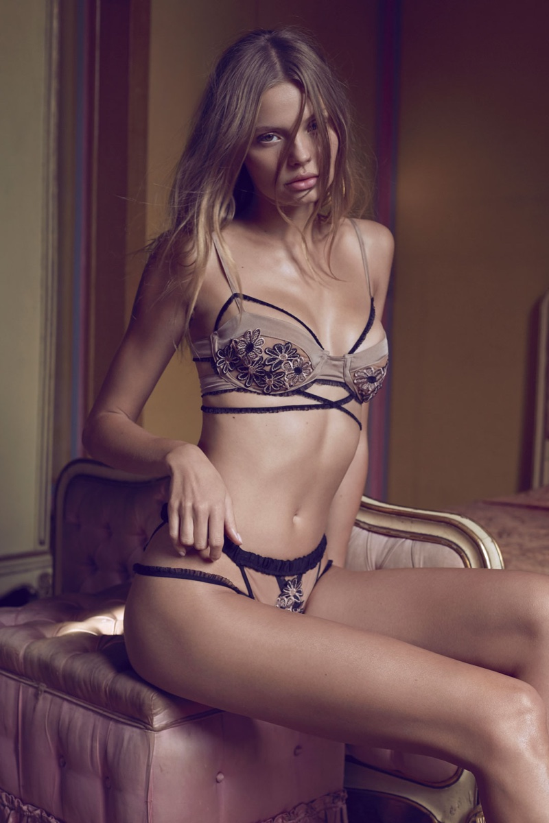 For Love & Lemons Heliotrope Appliqué Panty