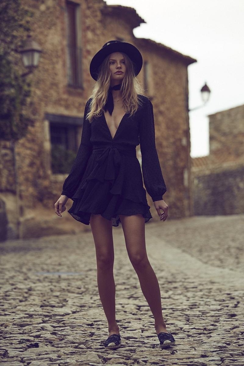 For Love & Lemons Tarta Long Sleeve Mini Dress