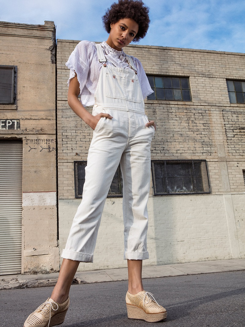 Free People Worn White The Boyfriend Overall