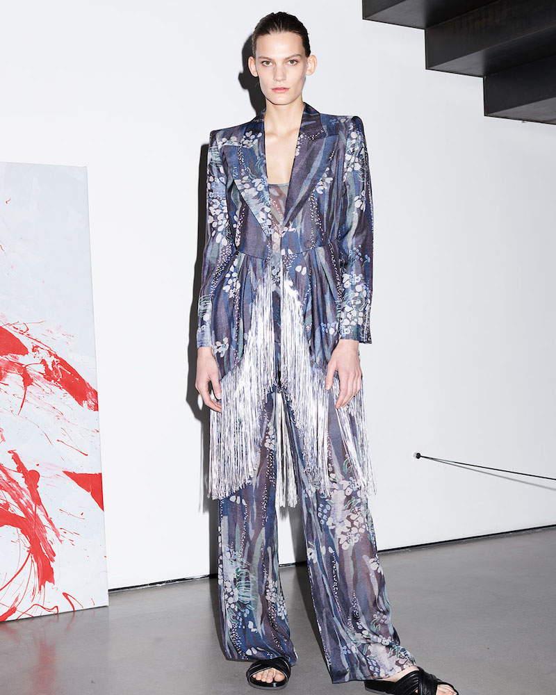 Giorgio Armani Floral Fringe Silk Jacket