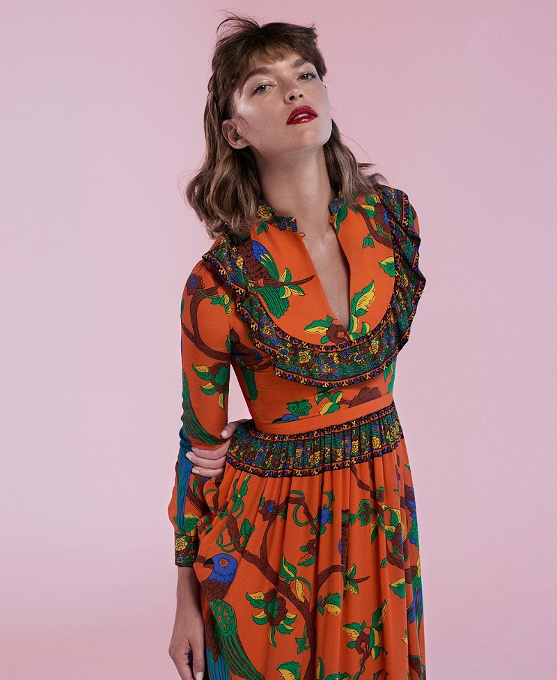 Gucci Jubilee-print Mandarin-collar silk gown
