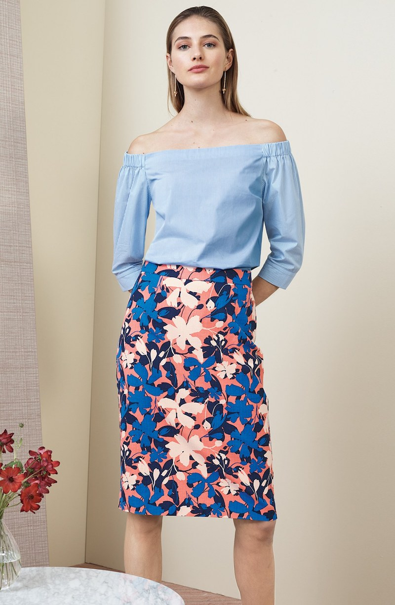 Halogen Floral Print Pencil Skirt