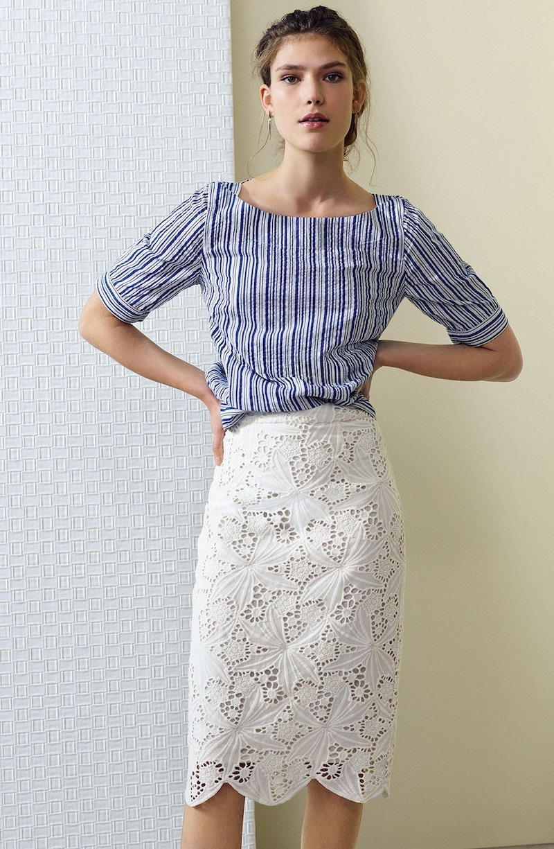 Halogen Scalloped Lace Pencil Skirt