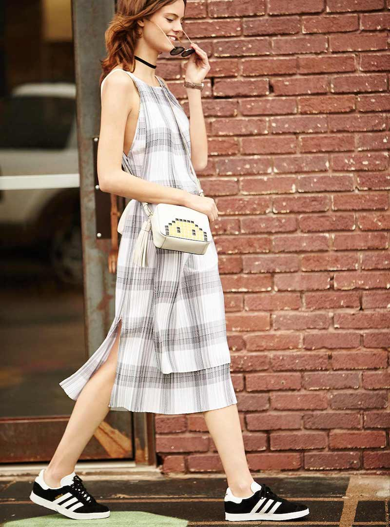Helmut Lang Sleeveless Variegated Plaid Midi Dress