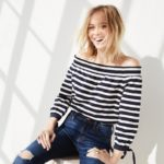 J.Crew Striped Long-Sleeve Off-The-Shoulder Top