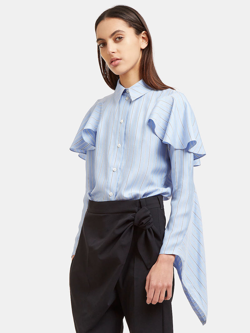 J.W. Anderson Striped Cascade Sleeve Silk Blouse