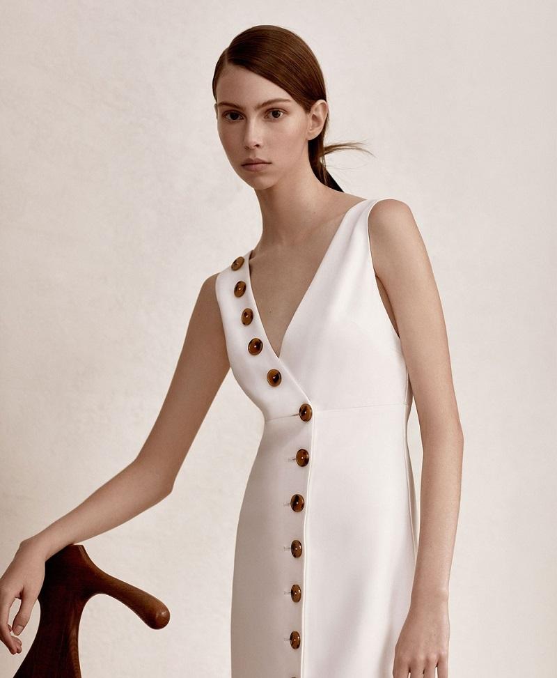 Khaite Christy V-neck twill dress