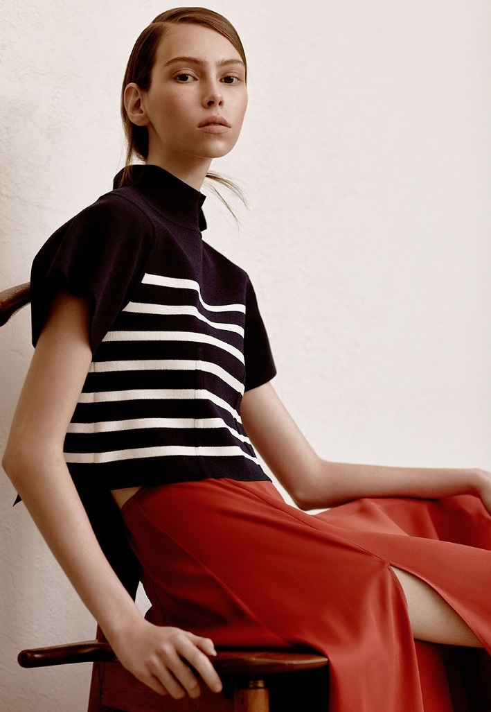 Khaite Stephanie flared-sleeve striped top