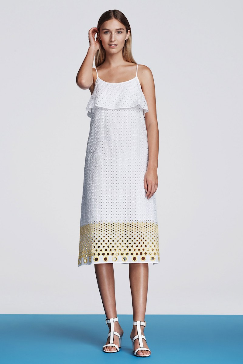 Lisa Perry Cotton Eyelet Tiered Slipdress