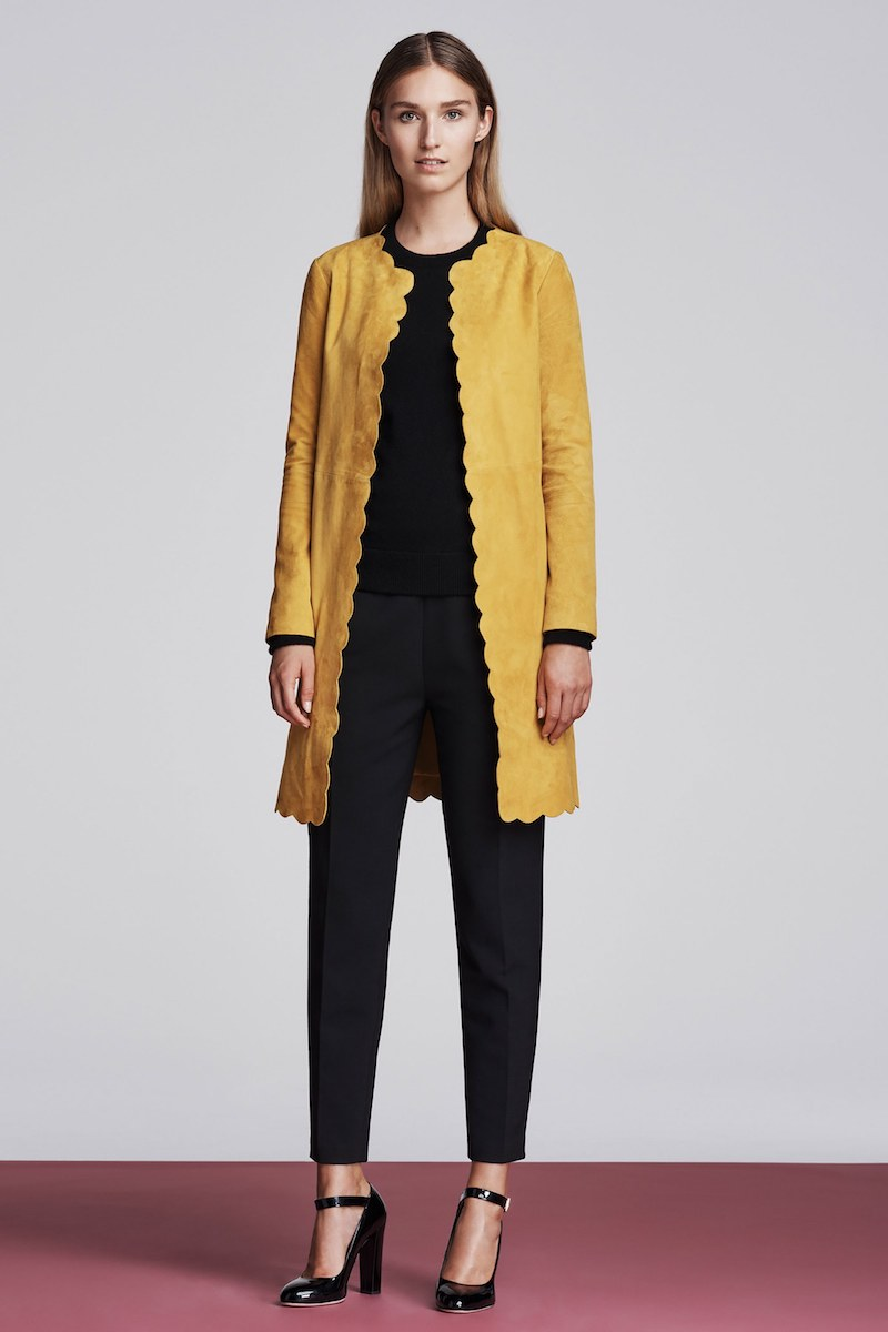 Lisa Perry Scalloped Suede Coat