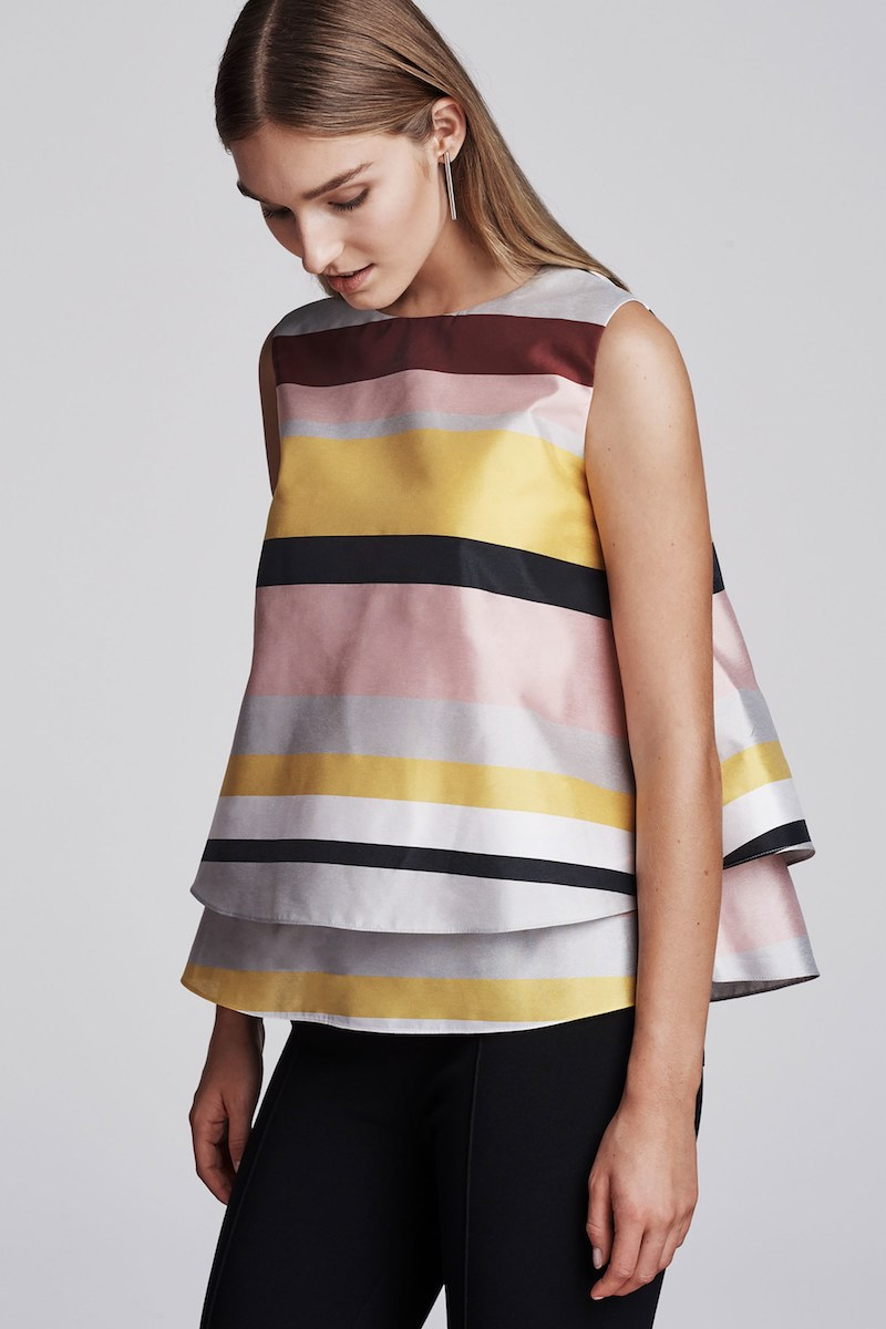 Lisa Perry Striped Plain-Weave Swing Top