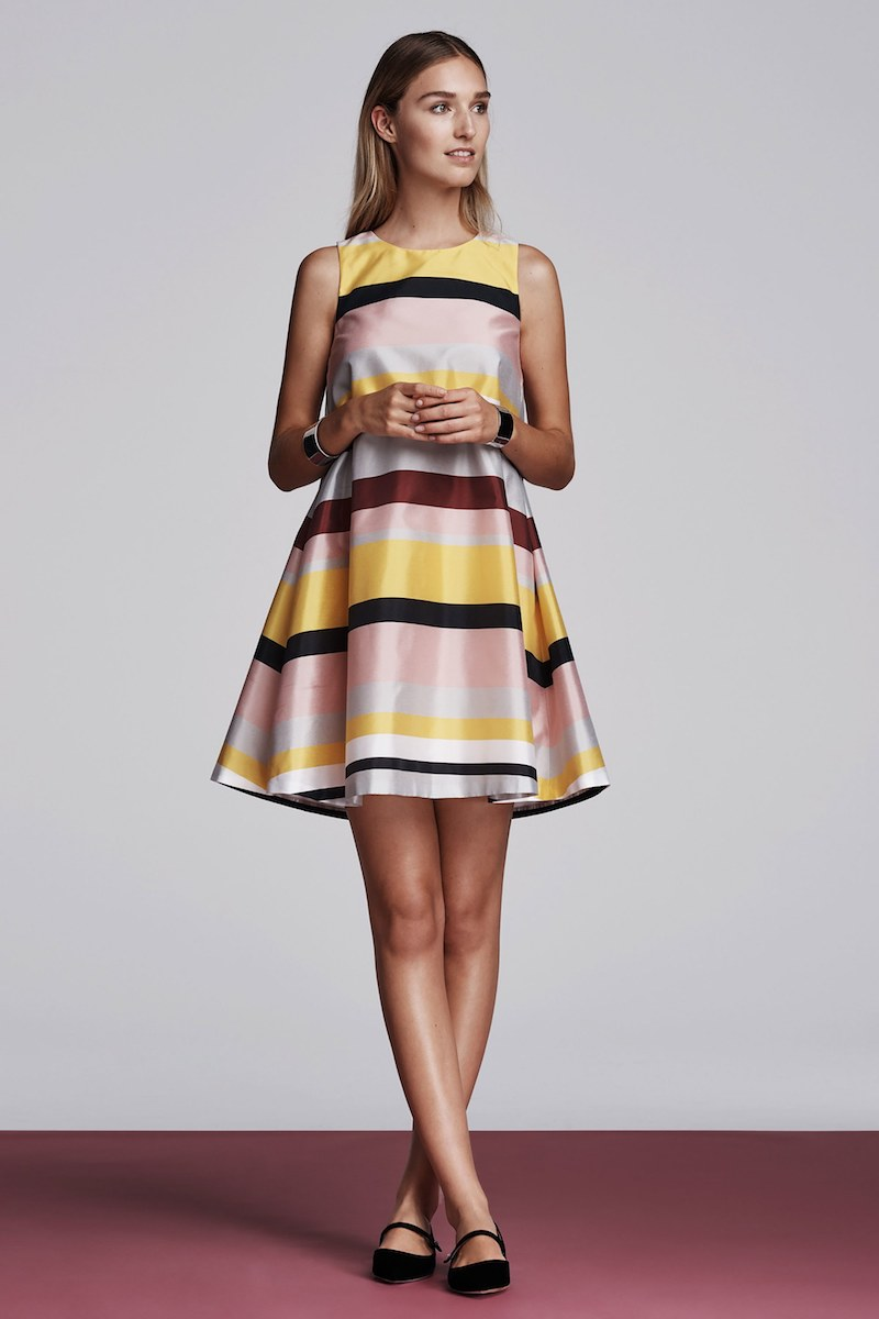 Lisa Perry Striped Sleeveless A-Line Dress