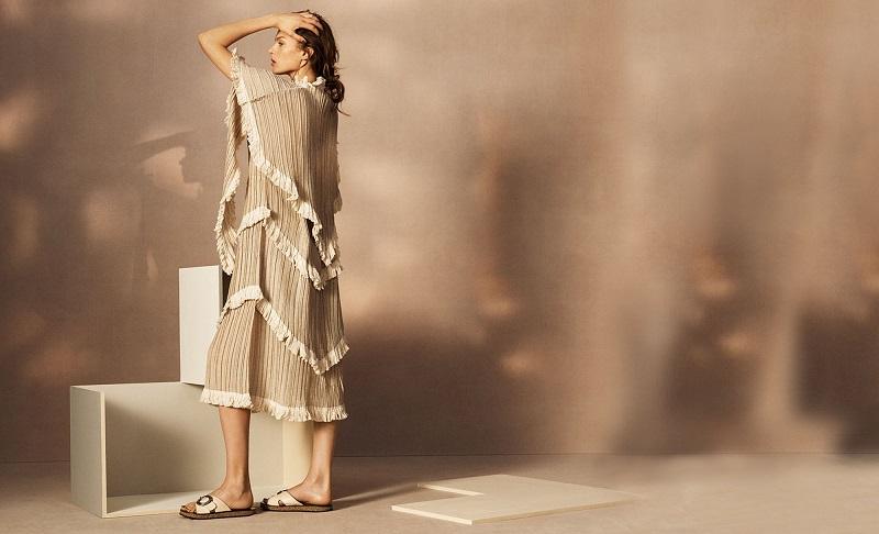 Loewe Fringe-trimmed pleated dress