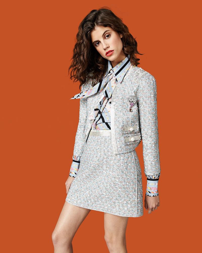 Marc Jacobs Beaded-Waist Tweed Skirt