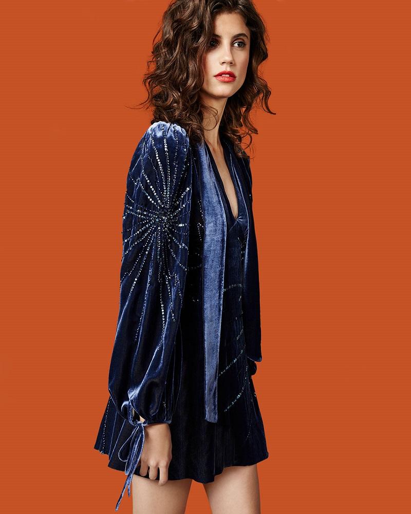 Marc Jacobs Sequined Velvet Bell-Sleeve Tunic