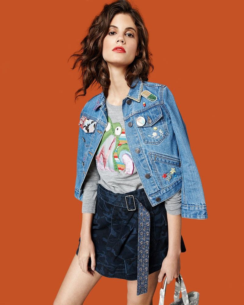 Marc Jacobs Shrunken Denim Jacket with Patches