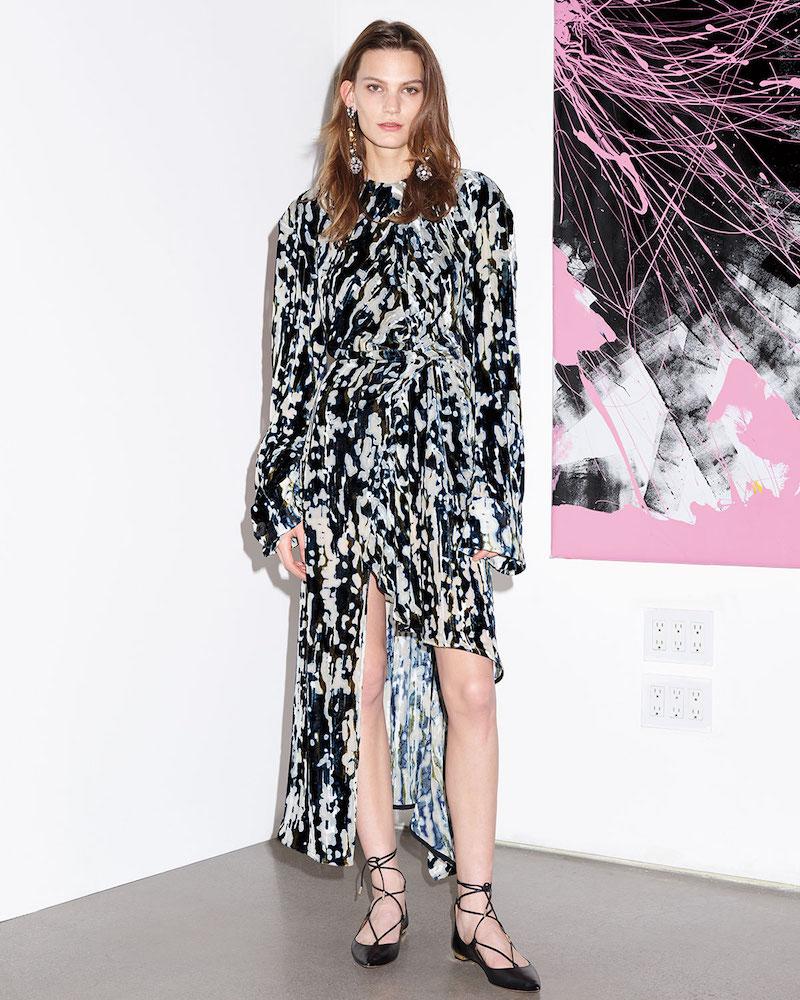 Marni Haze-Print Velvet Devoré Long-Sleeve Dress