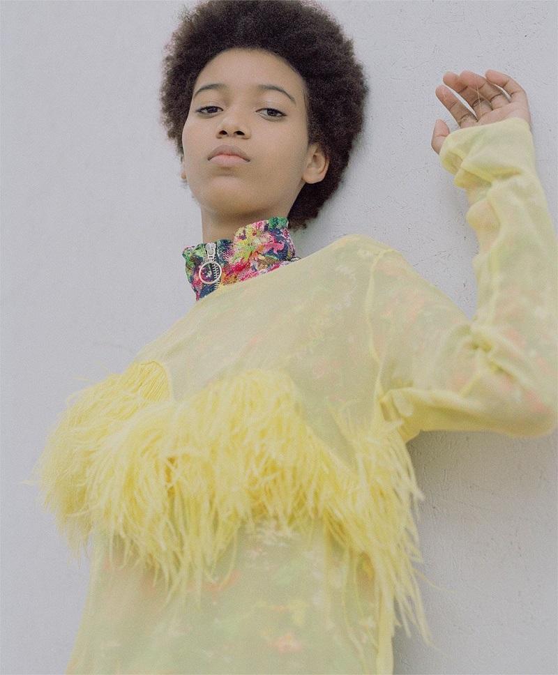 Marques Almeida Ostrich feather pure silk-chiffon top