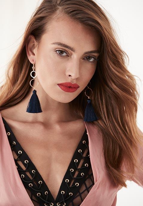 Melanie Auld Open Circle Tassel Earrings