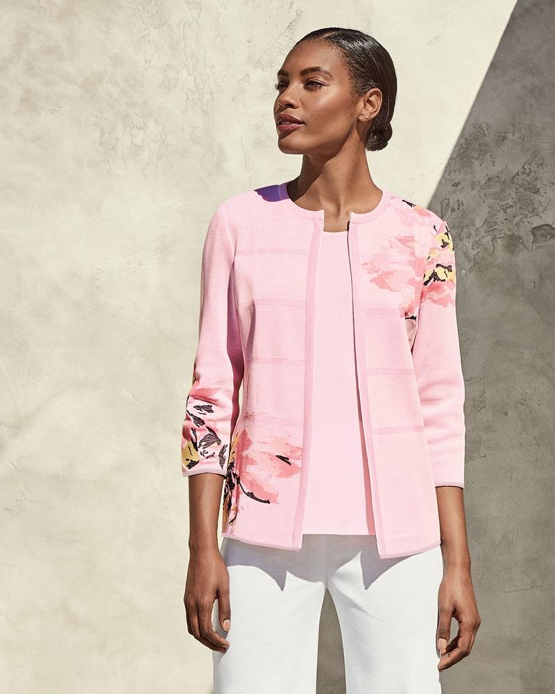 Misook Floral-Print Open Jacket