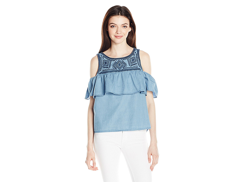 My Michelle Cold Shoulder Tiered Top with Embroidery
