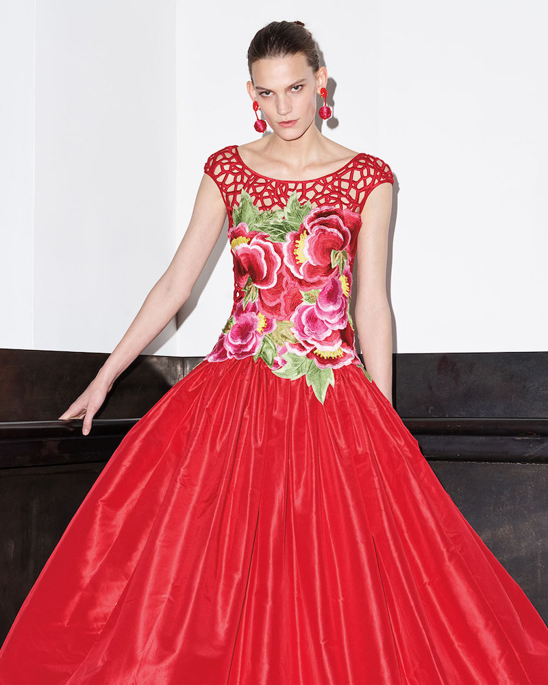 Naeem Khan Floral Threadwork Embroidered Gown