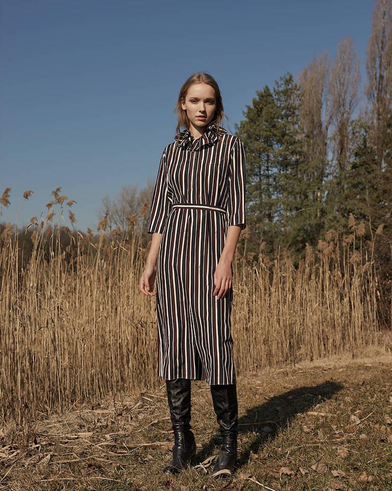 Nina Ricci Striped Silk Midi Dress