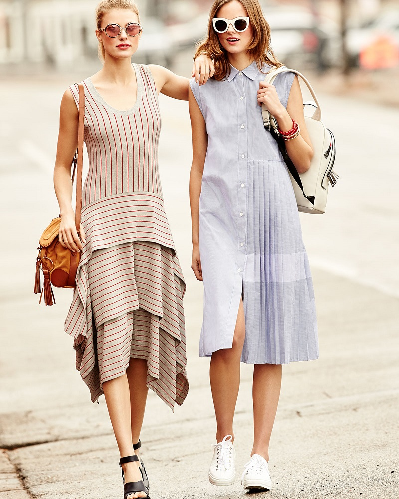Opening Ceremony Sleeveless Tiered Striped Jersey Dress-