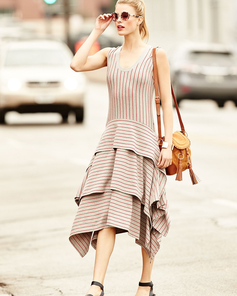 Opening Ceremony Sleeveless Tiered Striped Jersey Dress