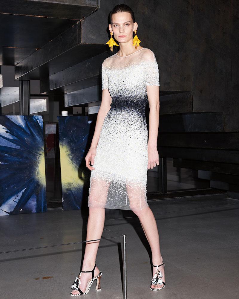 Pamella Roland Confetti-Embellished Cocktail Dress