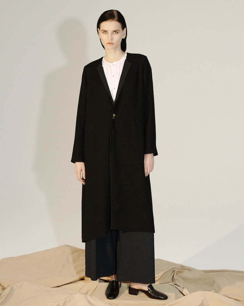 Pas de Calais Linen-Trimmed Basket-Weave Long Coat