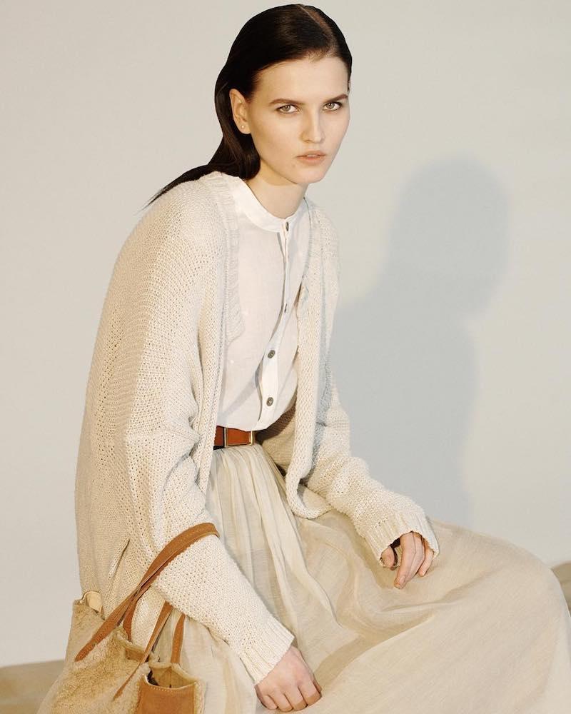 Pas de Calais Mixed-Knit Cotton Long Cardigan