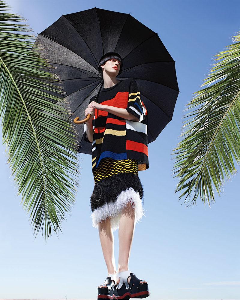 Proenza Schouler Variegated-Stripe Half-Sleeve Tunic