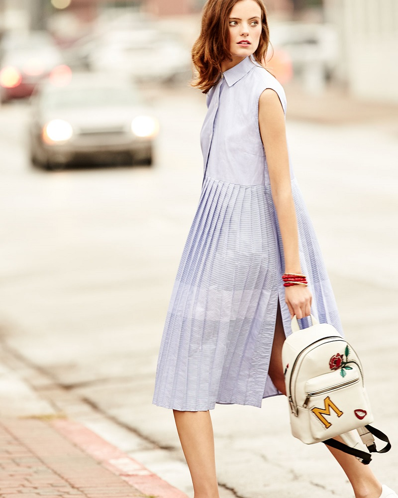 Public School Emerson Sleeveless Pleated Striped Shirtdress