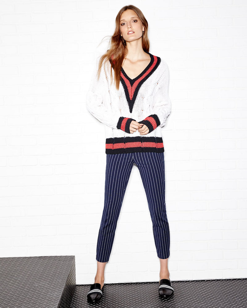 Rag & Bone Emma Varsity-Stripe Cable Knit Sweater