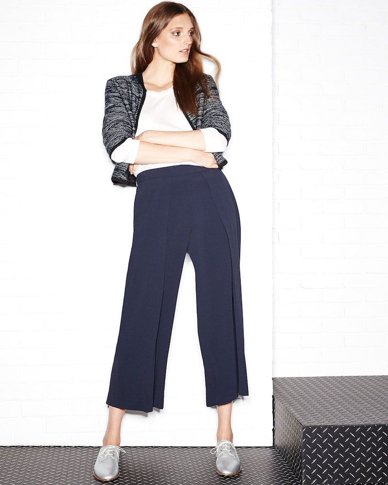 Rag & Bone Rowe Pleated Cropped Wide-Leg Pants