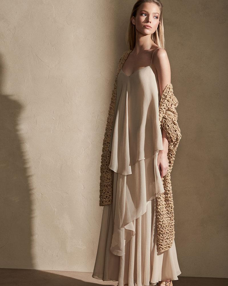 Ralph Lauren Collection Bernadine Tiered Chiffon Slip Gown