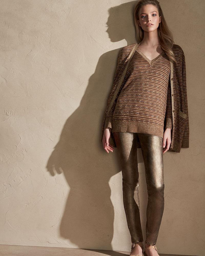 Ralph Lauren Collection Metallic Deco Knit V-Neck Sweater