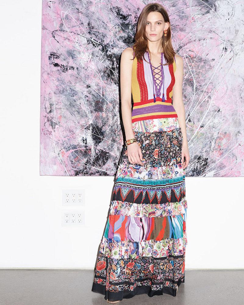 Roberto Cavalli Mixed-Print Tiered Maxi Peasant Skirt